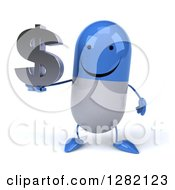 3d Happy Blue And White Pill Character Holding A Dollar Symbol
