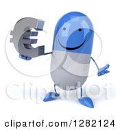 3d Happy Blue And White Pill Character Shrugging And Holding A Euro Currency Symbol