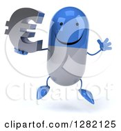 3d Happy Blue And White Pill Character Jumping And Holding A Euro Currency Symbol