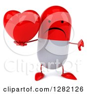 Clipart Of A 3d Unhappy Red And White Pill Character Holding A Thumb Down And A Heart Royalty Free Illustration