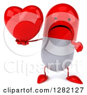 Clipart Of A 3d Unhappy Red And White Pill Character Holding And Pointing To A Heart Royalty Free Illustration