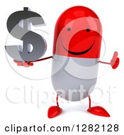 Clipart Of A 3d Happy Red And White Pill Character Holding A Thumb Up And A Dollar Currency Symbol Royalty Free Vector Illustration