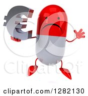 Clipart Of A 3d Unhappy Red And White Pill Character Jumping And Holding A Euro Currency Symbol Royalty Free Vector Illustration