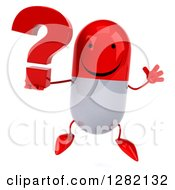 Clipart Of A 3d Happy Red And White Pill Character Jumping With A Question Mark Royalty Free Vector Illustration