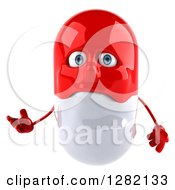 Clipart Of A 3d Unhppy Red And White Pill Character Presenting Royalty Free Vector Illustration