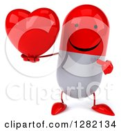 Clipart Of A 3d Happy Red And White Pill Character Holding And Pointing To A Heart Royalty Free Illustration