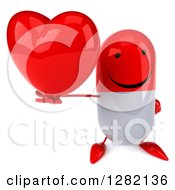 Clipart Of A 3d Happy Red And White Pill Character Holding Up A Heart Royalty Free Illustration