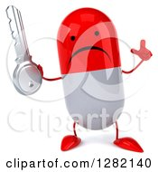 Clipart Of A 3d Unhappy Red And White Pill Character Holding Up A Finger And A Key Royalty Free Illustration