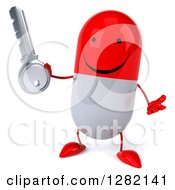 Clipart Of A 3d Happy Red And White Pill Character Shrugging And Holding A Key Royalty Free Illustration