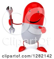 Clipart Of A 3d Happy Red And White Pill Character Holding And Pointing To A Wrench Royalty Free Illustration