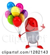 Clipart Of A 3d Happy Red And White Pill Character Holding Up A Finger And Party Balloons Royalty Free Illustration