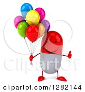 Clipart Of A 3d Happy Red And White Pill Character Holding A Thumb Up And Party Balloons Royalty Free Illustration