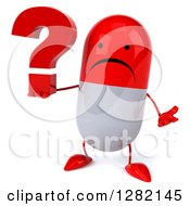Clipart Of A 3d Unhappy Red And White Pill Character Shrugging And Holding A Question Mark Royalty Free Illustration