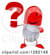 Clipart Of A 3d Happy Red And White Pill Character Holding A Question Mark Royalty Free Illustration