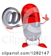 Clipart Of A 3d Unhappy Red And White Pill Character Holding Up A Finger And An Email Arobase At Symbol Royalty Free Illustration