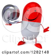 Clipart Of A 3d Happy Red And White Pill Character Shrugging And Holding An Email Arobase At Symbol Royalty Free Illustration