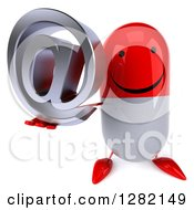 Clipart Of A 3d Happy Red And White Pill Character Holding An Email Arobase At Symbol Royalty Free Illustration