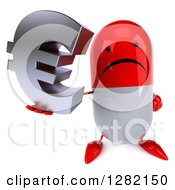 Clipart Of A 3d Unhappy Red And White Pill Character Holding Up A Euro Symbol Royalty Free Illustration
