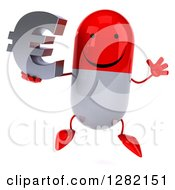 Clipart Of A 3d Red And White Pill Character Jumping And Holding A Euro Symbol Royalty Free Illustration