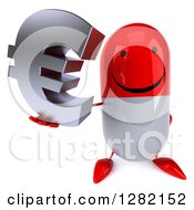 Clipart Of A 3d Red And White Pill Character Holding Up A Euro Symbol Royalty Free Illustration