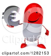 Clipart Of A 3d Red And White Pill Character Holding A Euro Symbol Royalty Free Illustration