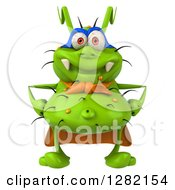 Clipart Of A 3d Green Germ Super Hero Royalty Free Vector Illustration by Julos
