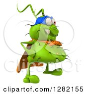 Clipart Of A 3d Green Germ Super Hero Facing Right Royalty Free Vector Illustration