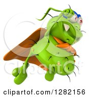 Clipart Of A 3d Green Germ Super Hero Flying To The Right Royalty Free Vector Illustration