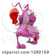 Clipart Of A 3d Purple Virus Germ Facing Right Waving And Wearing Boxing Gloves Royalty Free Vector Illustration