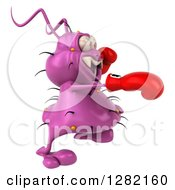 Clipart Of A 3d Purple Virus Germ Facing Right Punching And Wearing Boxing Gloves Royalty Free Vector Illustration