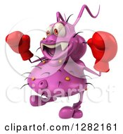 Clipart Of A 3d Purple Virus Germ Facing Left And Wearing Boxing Gloves Royalty Free Vector Illustration