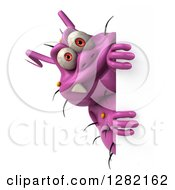 Clipart Of A 3d Purple Germ Virus Looking Around A Sign Royalty Free Vector Illustration