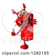 Clipart Of A 3d Red Germ Virus Holding A Thumb Up Around A Sign Royalty Free Vector Illustration