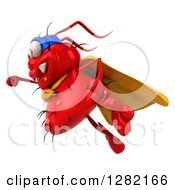 Clipart Of A 3d Red Germ Virus Super Hero Flying To The Left Royalty Free Vector Illustration