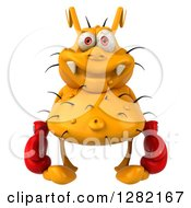Clipart Of A 3d Yellow Germ Virus Wearing Boxing Gloves Royalty Free Vector Illustration