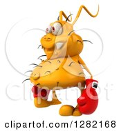 Clipart Of A 3d Yellow Germ Virus Facing Left And Wearing Boxing Gloves Royalty Free Vector Illustration