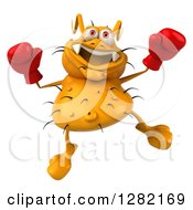 Clipart Of A 3d Yellow Germ Virus Jumping And Wearing Boxing Gloves Royalty Free Vector Illustration