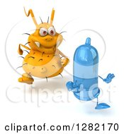 Clipart Of A 3d Yellow Germ Chasing A Blue Condom To The Right Royalty Free Vector Illustration by Julos
