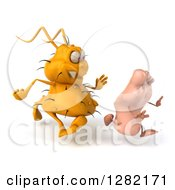 Clipart Of A 3d Yellow Germ Virus Chasing A Foot To The Right Royalty Free Vector Illustration