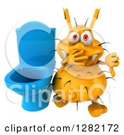 Clipart Of A 3d Yellow Germ Virus Plugging His Nose And Holding A Thumb Down By A Toilet Royalty Free Vector Illustration