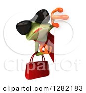 3d Green Female Springer Frog Wearing Sunglasses And Holding A Purse Around A Sign