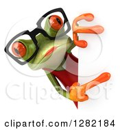 3d Bespectacled Green Female Springer Frog Pointing Around A Sign