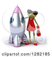 3d Green Female Frog Wearing Sunglasses And Standing By A Rocket
