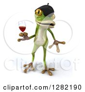 Clipart Of A 3d French Frog Holding A Glass Of Red Wine Royalty Free Illustration
