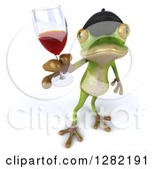 Clipart Of A 3d French Frog Holding Up A Glass Of Red Wine Royalty Free Illustration
