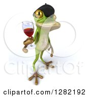 Clipart Of A 3d French Frog Facing Right And Holding Up A Glass Of Red Wine Royalty Free Illustration by Julos