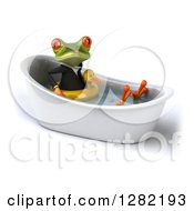 Clipart Of A 3d Green Business Springer Frog Wearing An Inner Tube And Soaking In A Bath Tub Royalty Free Illustration