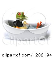 Clipart Of A 3d Green Business Springer Frog Facing Right Wearing An Inner Tube And Soaking In A Bath Tub Royalty Free Illustration