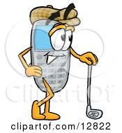 Wireless Cellular Telephone Mascot Cartoon Character Leaning On A Golf Club While Golfing