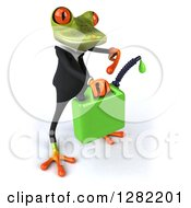 Clipart Of A 3d Green Business Springer Frog Facing Right And Holding A Gas Can Of Biofuel Royalty Free Illustration